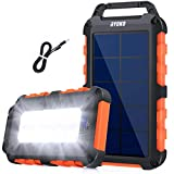 Solar Power Bank 20000mAh, Tragbares Solarladegerät mit 2 Ausgängen und LED-Taschenlampen, Wasserdichtes Solarpanel-Ladegerät mit hoher Kapazität Schnelllade-Akku für Smartphones Tablets im Freien