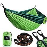 NatureFun Ultraleichte Reise Camping Hängematte | 300kg Tragkraft, (300 x 200 cm) Atmungsaktiv, Schnelltrocknendes Fallschirm Nylon | 2 x Premium Karabiner, 2 x Nylon-Schlingen Inbegriffen